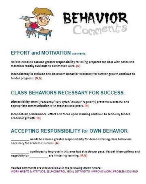 behavior report card comments ready to use behavior comments 636 | behavior comments