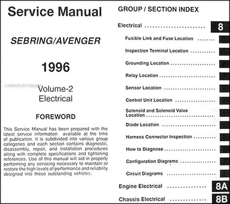 service manuals schematics 1996 dodge avenger security system 1996 chrysler sebring dodge avenger repair shop manual original 2 volume set