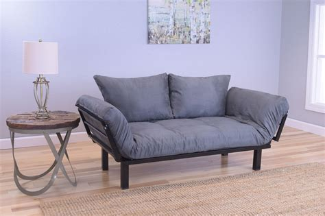 bed futon spacely futon daybed lounger with mattress suede gray by