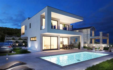 insel krk kvarner moderne villa mit swimmingpool