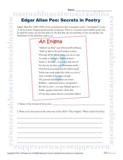 edgar allan poe reading worksheet secrets in poetry