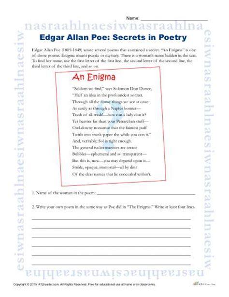 edgar allan poe worksheets middle school edgar allan poe reading worksheet secrets in poetry