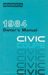 1984 Honda Civic Coupe Owners Manual User Guide Reference