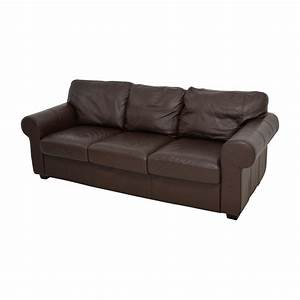 62 off ikea ikea dark brown three cushion leather couch With dark brown leather sofa bed