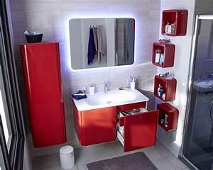 stunning decoration salle de bain rouge ideas seiunkel With deco salle de bain gris et blanc