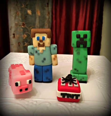 set  minecraft inspired fondant cake toppers ebay diy