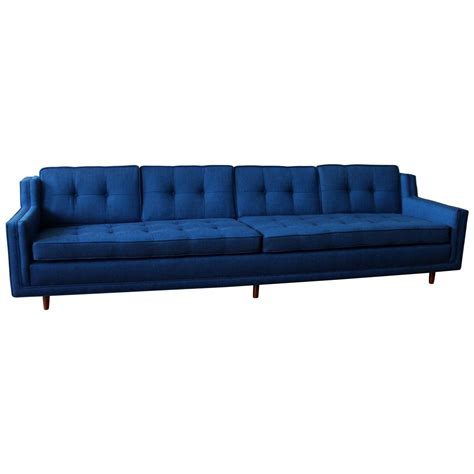 Blue Mid Century Modern Low Slung Nemschoff Sofa At 1stdibs