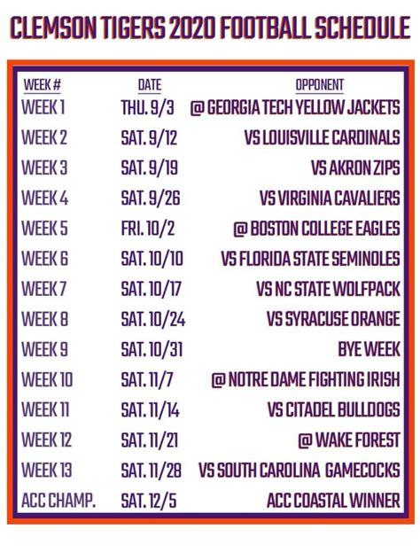 Printable Clemson Football Schedule 2020
