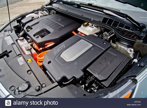 Gas Electric Hybrid by The Engine Compartment Of A Chevrolet Volt Hybrid Gas