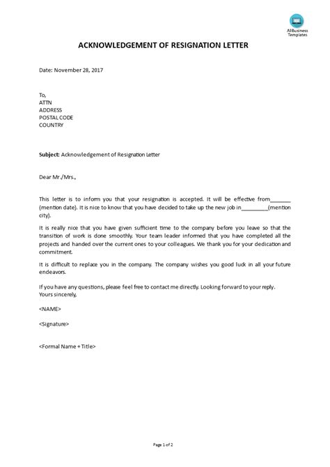 Acknowledgement Of Resignation Letter Template - Sample Resignation Letter