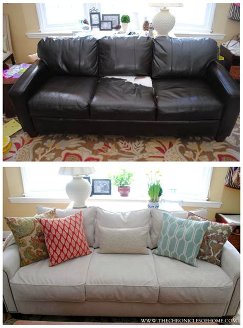 re cover leather sofa recover a leather sofa leather looking and reupholster cushions to fabric thesofa