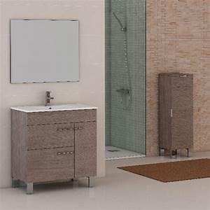 meuble salle de bain cup 1 porte et 2 tiroirs chene With porte d entrée pvc avec meuble salle de bain blanc laqué 80 cm