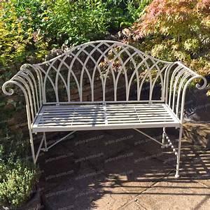 Banc En Fer : banc de jardin kiftsgate en fer couleur ivoire mobilier de jardin ~ Preciouscoupons.com Idées de Décoration