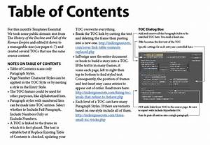 indesign template essentials tables of contents With table of contents template indesign