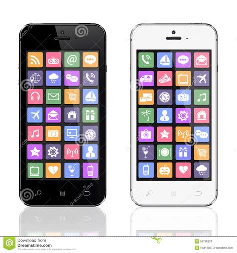 black modern smartphone with application icons on the black and white smartphones with apps icons stock