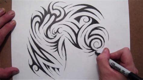 drawing  tribal  sleeve  chest piece tattoo design