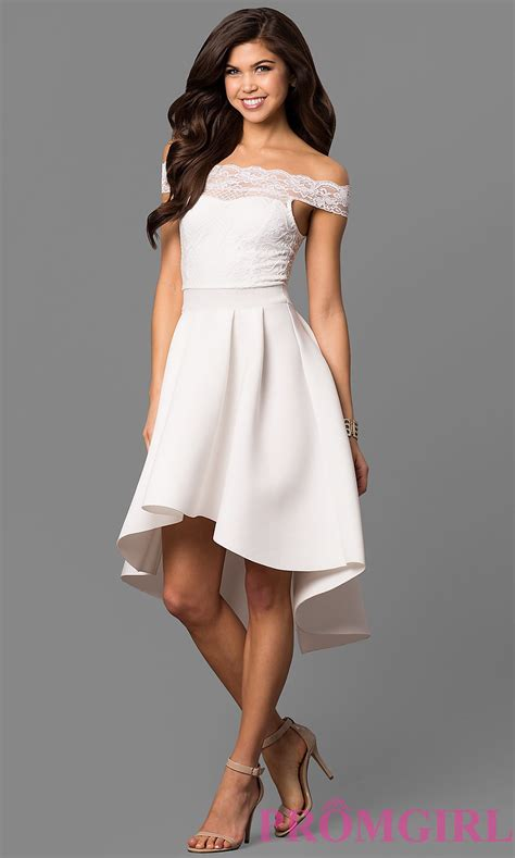 Offtheshoulder Highlow White Party Dress Promgirl