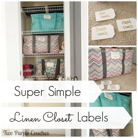 Super Simple Linen Closet Labels  Two Purple Couches