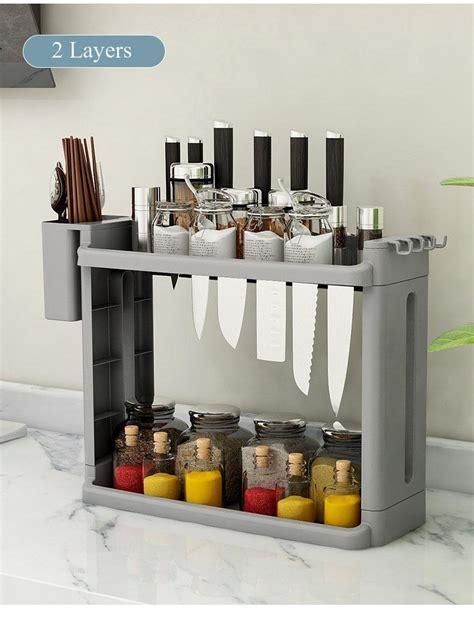 layer storage rack shelf kitchen knife holder fridge