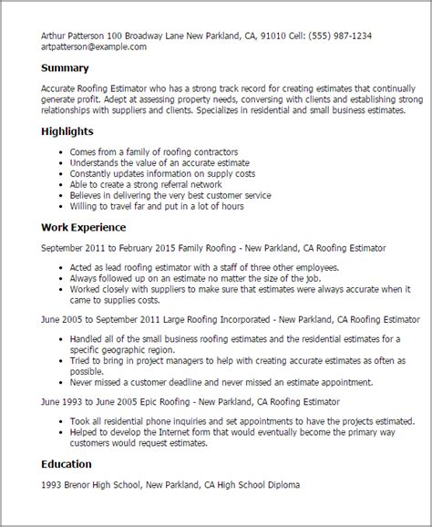 Metal Roofer Resume professional roofing estimator templates to showcase your