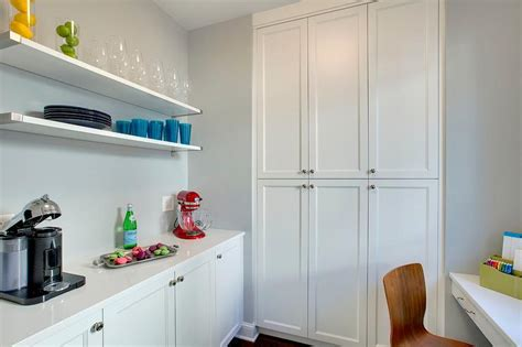 built in pantry kitchen pantry with built in floating desk transitional