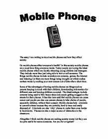Advantages Of Cell Phones Essay Advantages and Disadvantages of