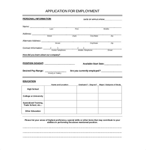 employment application templates   word