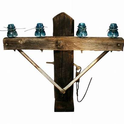 Antique Insulators Pole Telegraph Cross Bar Wood