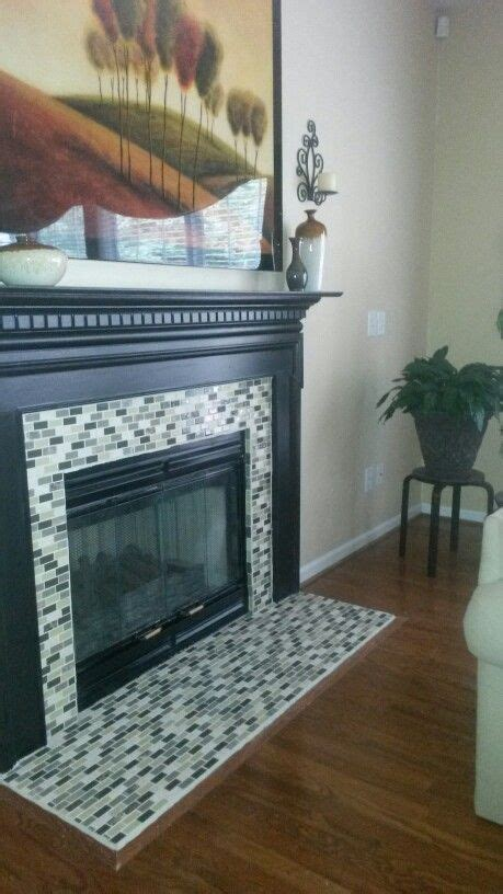 diy tile fireplace surround   pic