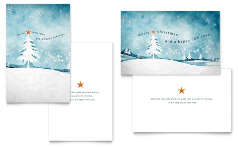 a4 half fold card template winter landscape greeting card template word publisher