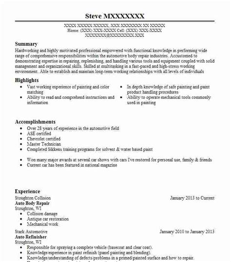 auto body repair resume