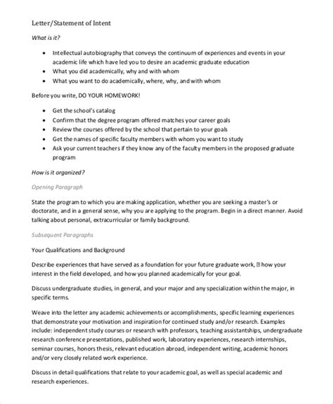 sample letter  intent   ms word pages