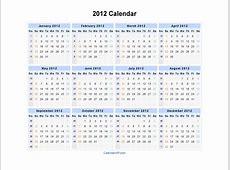 2012 Calendar Blank Printable Calendar Template in PDF
