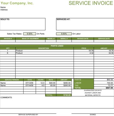 templates  service billing invoice examples
