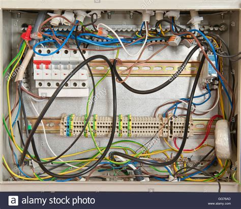 Basic House Wiring Fuse Box by Electrical Connections In A Fuse Box Stock Photo