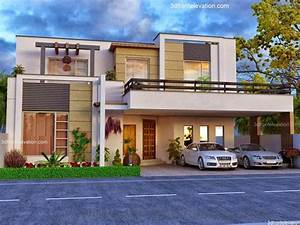 3d, Front, Elevation, Com, Beautiful, House, Modern, Design