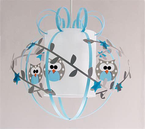 luminaire chambre garcon plafonnier enfant hiboux gris bleu fabrique casse noisette