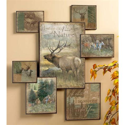 elk wall art collage cabin place