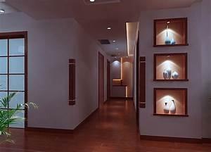Home interior corridor design render night Download 3D House