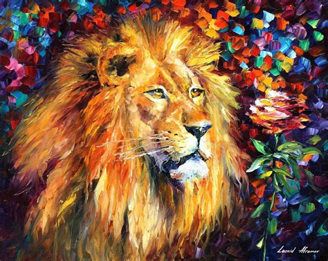 how to paint a l lion palette knife oil painting on canvas by leonid