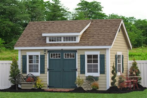 backyard sheds and garages 10x14 premier garden shed with dormer traditional