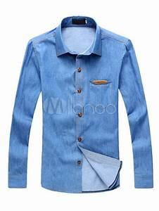 Light Sky Blue Denim Men's Casual Shirt - Milanoo.com