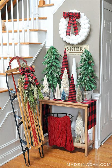 buffalo plaid christmas forest entryway    day