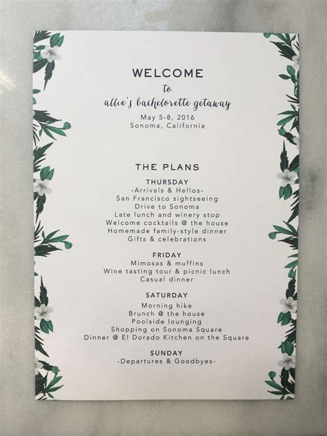 bachelorette itinerary copywriting  layout