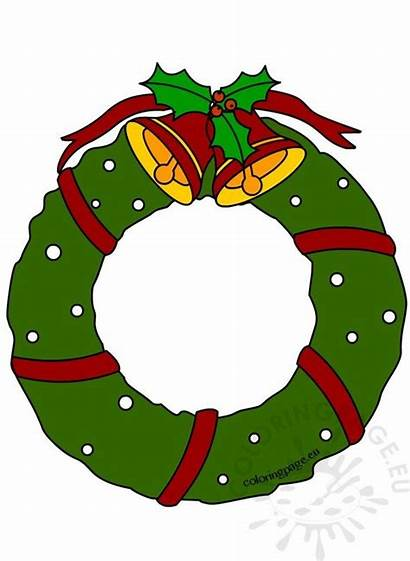 Wreath Clipart Bells Coloring Clip Wreaths