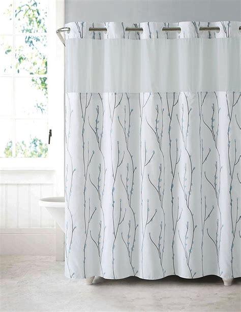 hookless shower curtain liner hookless shower curtain waterproof peva liner white blue