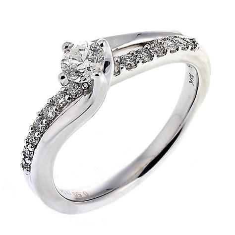 18ct white gold half carat solitaire twist ring ernest jones