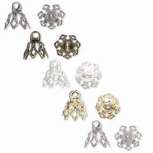 100 Plated Brass Bell Bead End Charm Caps With Loop  U0026 7 Filigree Prong Legs