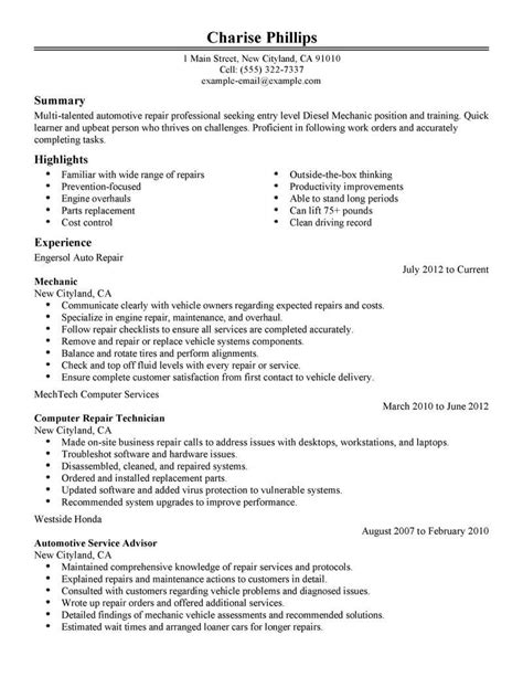 18528 resume exles for entry level best entry level mechanic resume exle livecareer