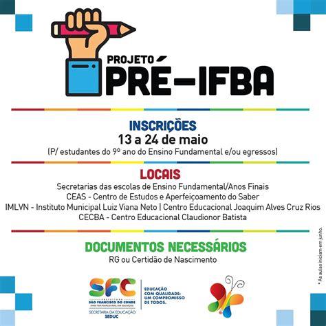 Abertas as inscrições para o Pré-IFBA - Portal da ...